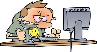 Angry computer guy cartoon
